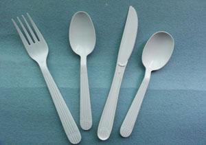 white heavy weight polyproprolyene cutlery