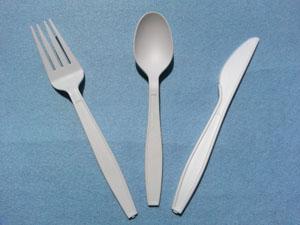 white medium heavy polyproprolyene cutlery